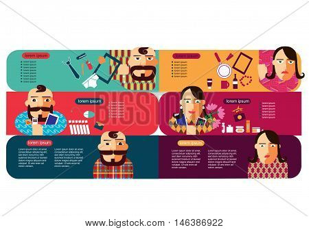 Customer profile infographic vector template. Men and women with shopping. Happy buyers set. Vector. Man and woman shopping flat cartoon vector illustration. Eps10. Isolated on a white background.