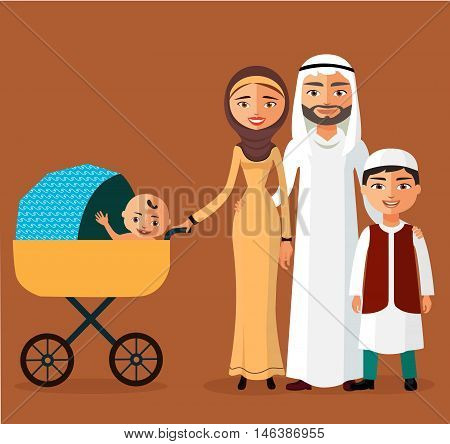 Happy Arab couple with a newborn baby in a flat stile. Mother with children flat cartoon vector illustration. Eps10. Isolated on a white background.