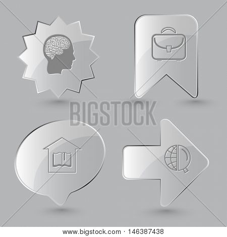 4 images: human brain, briefcase, library, globe and magnifying glass. Education set. Glass buttons on gray background. Vector icons.