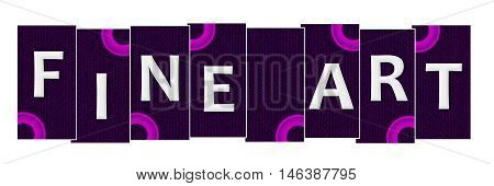 Fine arts text written over pink purple background.