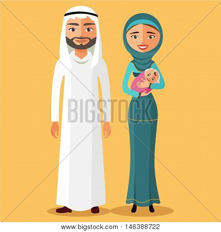 Arab couple with a newborn baby happy. Mother with newborn baby in a flat stile flat cartoon vector illustration. Eps10. Isolated on a white background.