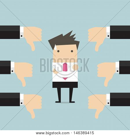 Businessman and many hands with thumbs down. Dislikes and negative feedback concept
