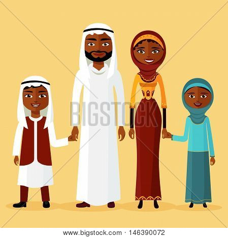 Arab family, Arabic parents. Two children are kept for the hands of parents flat vector illustration flat cartoon vector illustration. Eps10. Isolated on a white background.