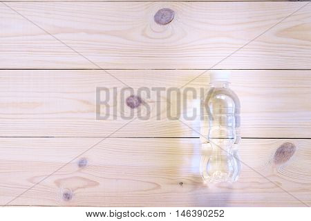 Bottled Water On The Wooden Table, Top View. Flat Lay. Helth And Fitness Concept