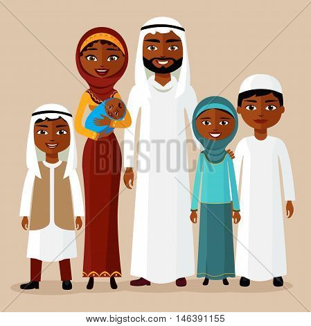 Arab family concept. Big and happy saudi cartoon family in flat style. Arab people father, mother, son, newborn baby and daughter standing together in traditional islamic clothes. Vector illustration.