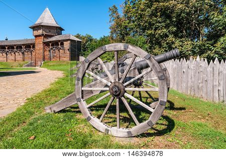 Old Cossack cannons installed on wooden carriages are still on duty in the ancient wooden citadel in Baturin Ukraine.