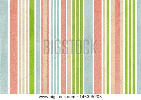 Watercolor Green, Pink, Beige And Blue Striped Background.