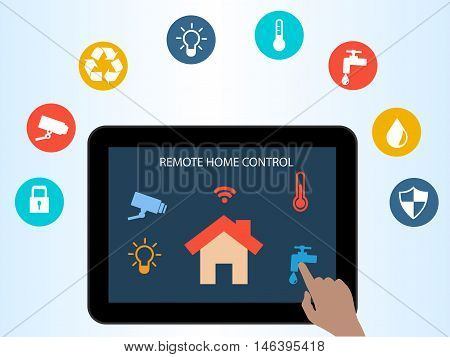 Concept of Smart House technology. Remote home control online.Home automation system on a digital tablet. Smart Home Technology Internet networking concept. Internet of things/Smart home automation. Internet of things