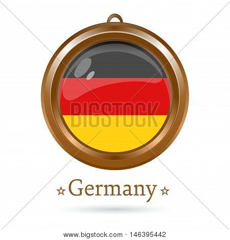 Round golden medallion with the German flag inside. Federal Republic of Germany flag. Vector illustration