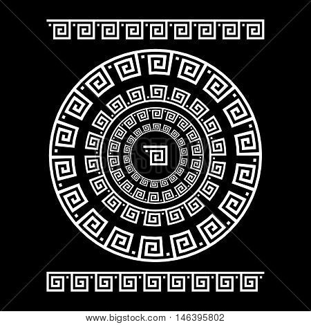 Circle Ornament Meander. Round Frame, Rosette Of Ancient Elements. Greek National Antique Round Patt