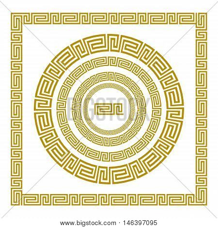 Vector Set Traditional Vintage Golden Square And Round Greek Ornament Meander And Floral Pattern On