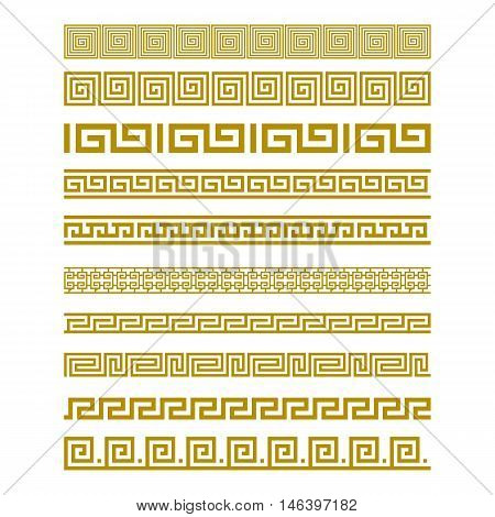 Seamless Gold Meander Patterns vector art border
