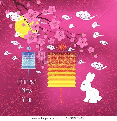 Oriental Chinese New Year background with lantern, rabbit and pink blossoms.