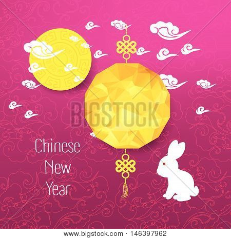 Oriental Chinese New Year background with lantern and rabbit