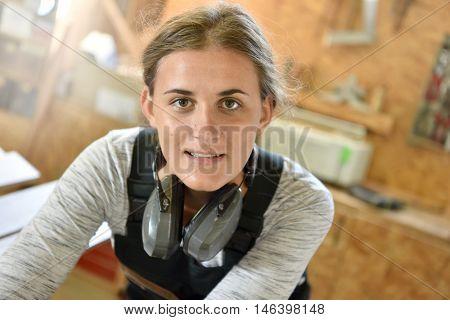 Portrait of carpentry apprentice