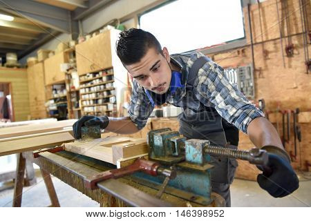 Young man in woodwork training course