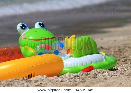 Colorful child's beach toys
