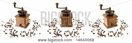 Collage Of Three Old Coffee Grinder With Coffee Grains