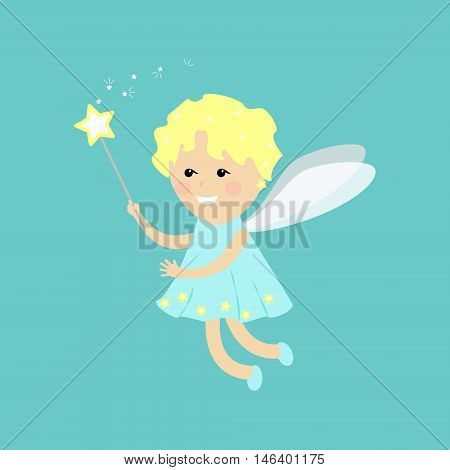 Angel fairy flat. Little fairy on a blue background