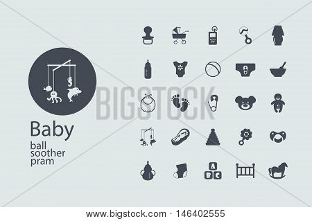 Flat concept, design , SEO. Set modern Icons mobile applications and web design. Working optimization: Baby symbols collection