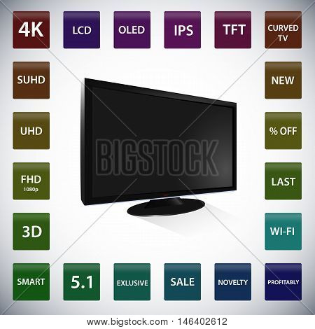 Black lcd tv with set of icons vector