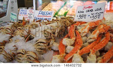 SEATTLE WASHINGTON USA - October 2014 - Fresh seafood display at Pike Place Public Market