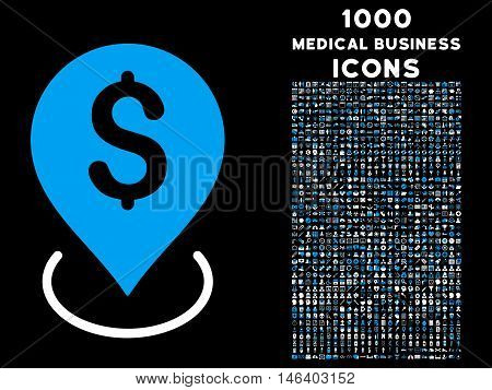 Bank Placement vector bicolor icon with 1000 medical business icons. Set style is flat pictograms blue and white colors black background.