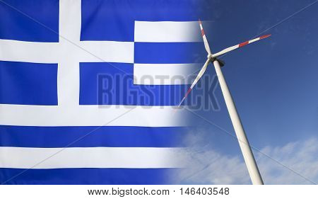 Concept clean energy with flag of Greece merged with wind turbine in a blue sunny sky