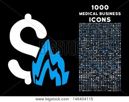 Fire Disaster vector bicolor icon with 1000 medical business icons. Set style is flat pictograms blue and white colors black background.