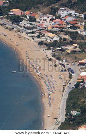 Overview on the beach of Agios Georgios on Corfu island Greece