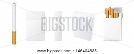 cigarette and pack of cigarettes with blank space. the best for package design and advertising - Realistic photo image. Smoking set isolated on white background with clip path.