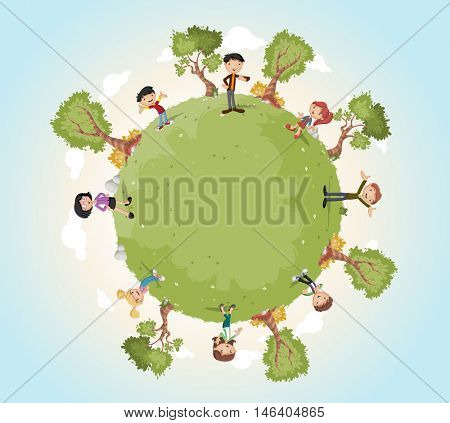Planet earth with cartoon family. Nature background. Green world.