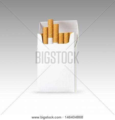 cigarette and pack of cigarettes with blank space. blank copy space for package design and advertising - Realistic photo image. Smoking set isolated on white background with clip path.