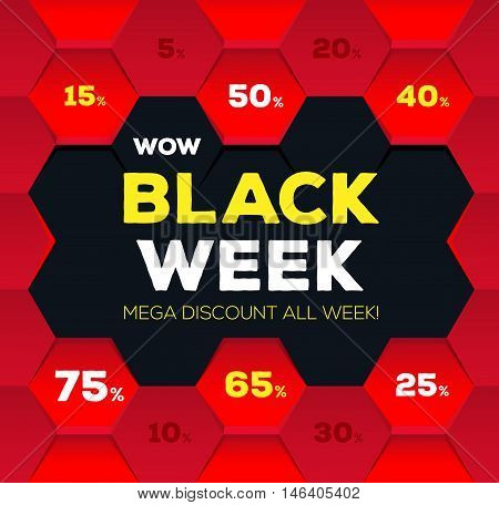 Black week sale. Black week banner. Sale banner. Sale. Mega discount banners. New offer. Vector illustration.