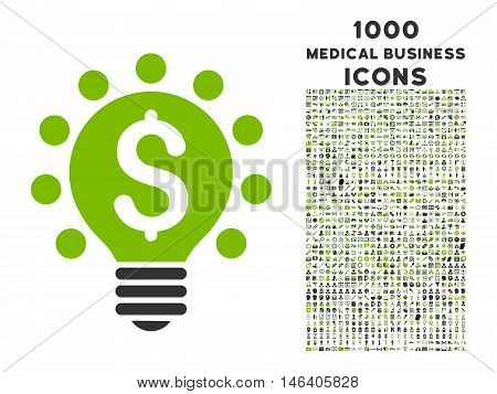 Business Patent Bulb vector bicolor icon with 1000 medical business icons. Set style is flat pictograms, eco green and gray colors, white background.