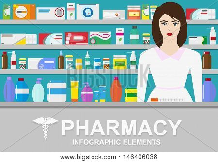 Pharmacy vector infographic elements. Woman pharmacist shows medications on showcase. Pharmacy icons set.