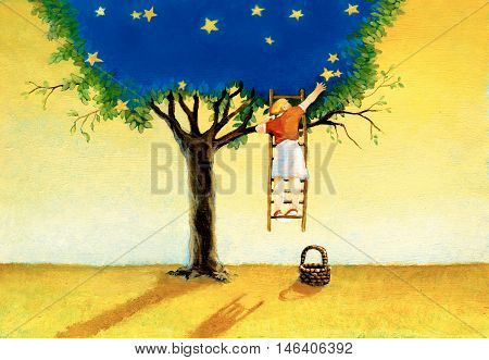 a girl on a ladder suspended in the air collects at the stars from a tree that encompasses the night