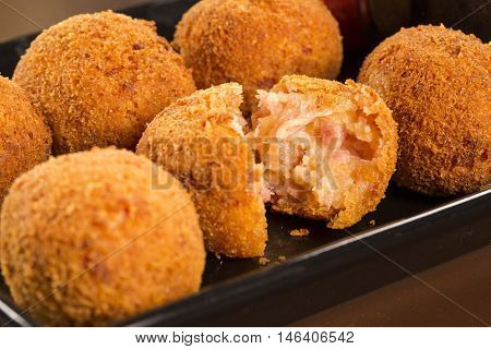 Brazilian Deep Fried Cheese And Ha Snack, Popular At Local Parties. Served With Chili Sauce.