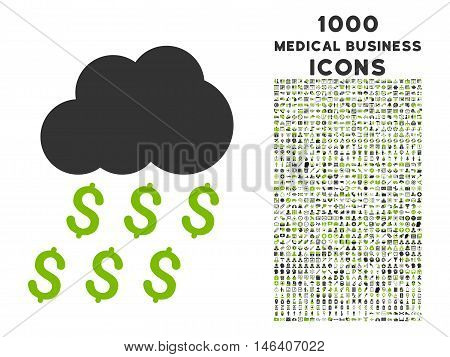 Money Rain vector bicolor icon with 1000 medical business icons. Set style is flat pictograms eco green and gray colors white background.