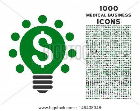 Business Patent Bulb vector bicolor icon with 1000 medical business icons. Set style is flat pictograms, green and gray colors, white background.