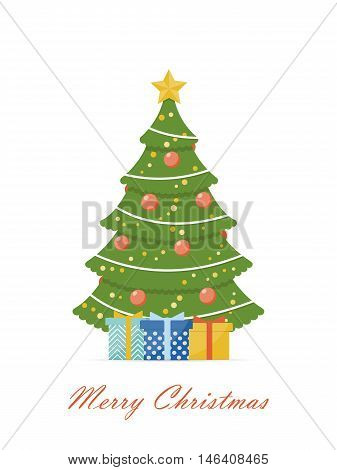 Christmas tree decorated with red balls and garlands. Concept design background for label tag. Template for greeting cards, invitations or Christmas banner. Vector illustration in flat style.