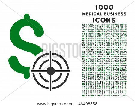 Business Target vector bicolor icon with 1000 medical business icons. Set style is flat pictograms, green and gray colors, white background.