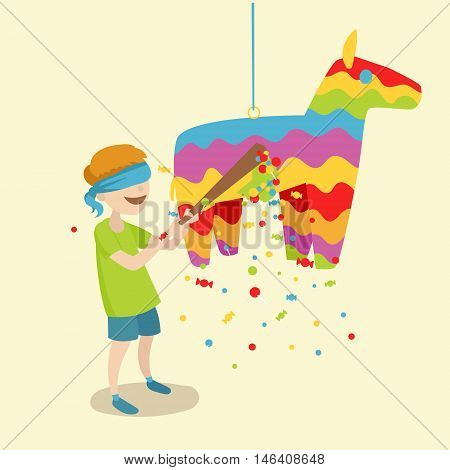 Child breaks the pinata. Festive event. Cartoon colorful vector illustration