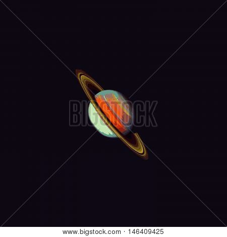 vector colourful realistic planet Saturn globe isolated illustration on dark space background.
