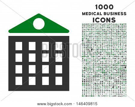 Multi-Storey House vector bicolor icon with 1000 medical business icons. Set style is flat pictograms green and gray colors white background.