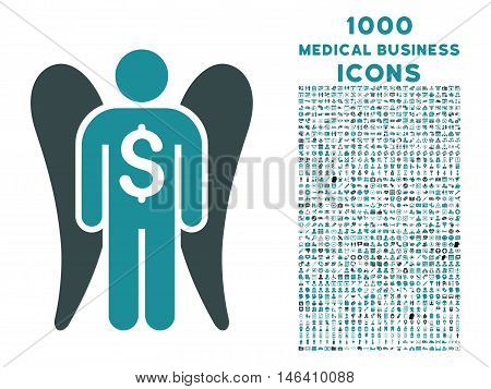 Angel Investor vector bicolor icon with 1000 medical business icons. Set style is flat pictograms soft blue colors white background.