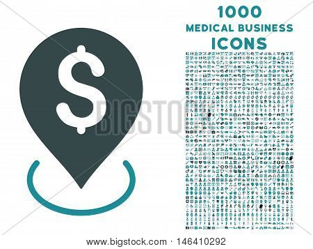 Bank Placement vector bicolor icon with 1000 medical business icons. Set style is flat pictograms soft blue colors white background.