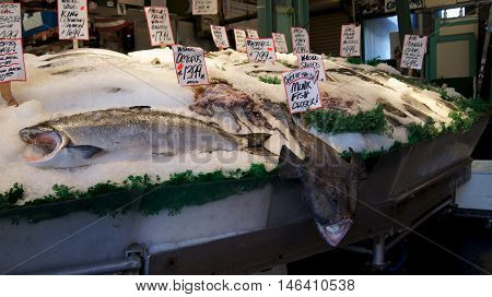 Seattle, Washington, USA - March 1, 2015 Fresh seafood display at Pike Place Public Market in Seattle.