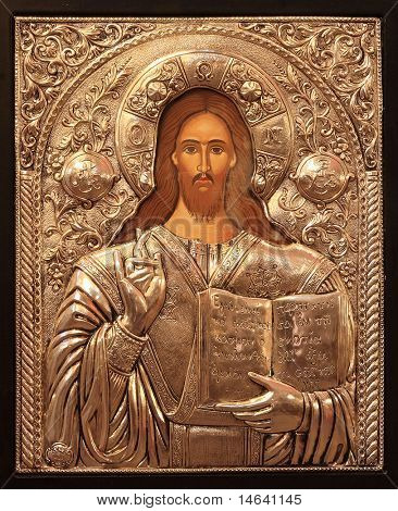Ancient orthodox  Greek Icon in a Greek Church