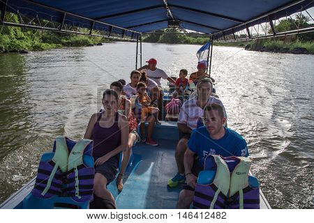 Granada Nicaragua - December 23 2015: Tourtist group on boat visiting the islands of granada